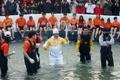 Torche olympique au Festival de la truite de montagne de Hwacheon