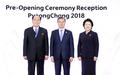 文大統領夫妻と金永南氏が記念撮影