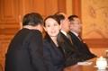 Kim Yo-jong en una reunión con Moon