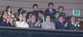 Moon y la hermana del líder norcoreano en la actuación de la troupe artística
