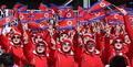 Supportrices nord-coréennes au centre alpin de Yongpyong