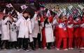 (الاولمبياد)اللاعبون الكوريون الجنوبين والشماليون يشاركون في حفل اختتام اولمبياد بيونغ تشانغ