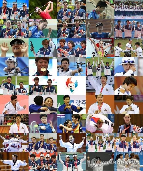 图为韩国选手在本届大运会上的精彩瞬间集锦。(韩联社)