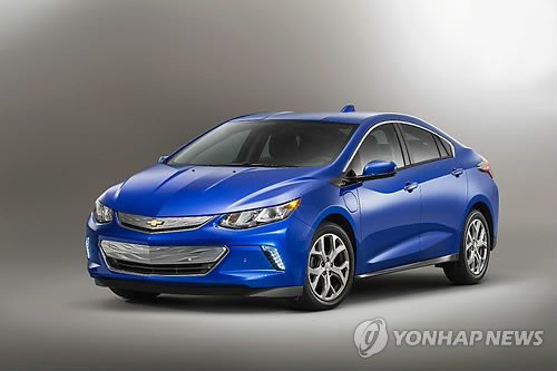 This photo released by GM Korea, the local unit of U.S.-based General Motors Co. on May 4, 2015, shows the new model of its electric vehicle Volt, which will be released next year. (Yonhap)