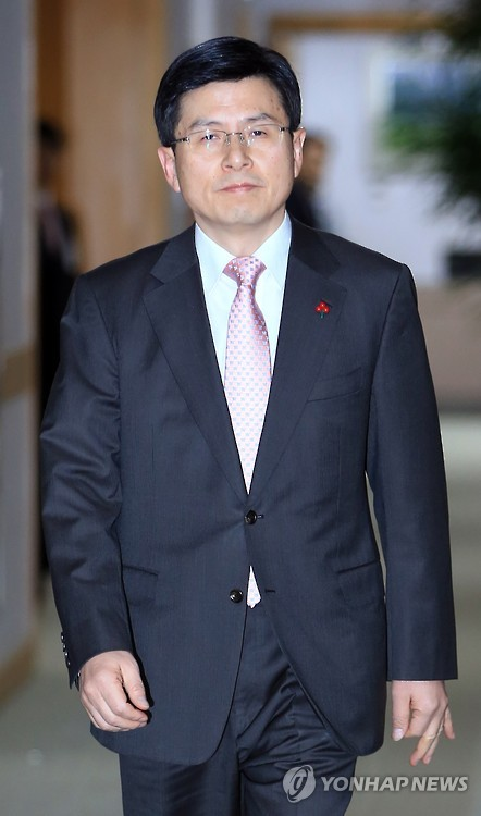 This file photo, dated Jan. 14, 2015, shows Justice Minister Hwang Kyo-ahn, who was appointed by President Park Geun-hye as the new prime minister on May 21, 2015. (Yonhap) (END)
