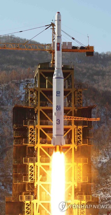 This photo released by North Korea`s state media in December 2012 shows a satellite being launched from Sohae, the same site from which Pyongyang is likely to launch a long-range rocket later this month. North Korea notified U.N. agencies on Feb. 2, 2016, that it will launch an ˝earth observation satellite˝ between Feb. 8-25, a move North Korea watchers believe will actually be to test a rocket, which is tantamount to a missile test. (Yonhap)