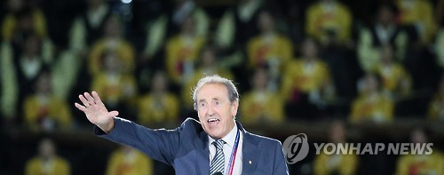 Claude-Louis Gallien, président de la Fédération internationale du sport universitaire (Fisu), lors de la cérémonie d`ouverture des Universiades de Gwangju