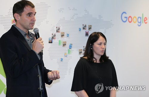 Larissa Fontaine Google Play (right) during an encounter with journalists in Seoul