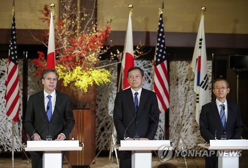 Réunion des vice-ministres des Affaires étrangères Corée du Sud-Etats-Unis-Japon (AP=Yonhap)
