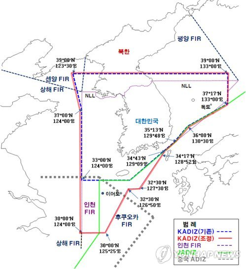 韓国が新防空識別圏を設定