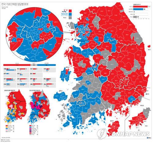赤色の部分がセヌリ党候補が当選した選挙区。青色は新政治民主連合、灰色は無所属=5日、ソウル(聯合ニュース)