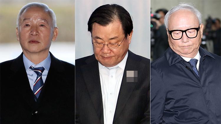 국가정보원의 특수활동비를 박근혜 전 대통령 측에 상납한 의혹을 받는 남재준(왼쪽부터), 이병기, 이병호 전 국가정보원장.