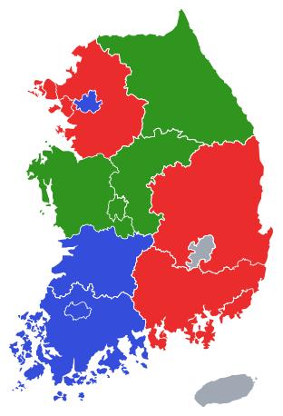 1995년 제1회 지방선거 김영삼 정부 지역별 투표율 지도