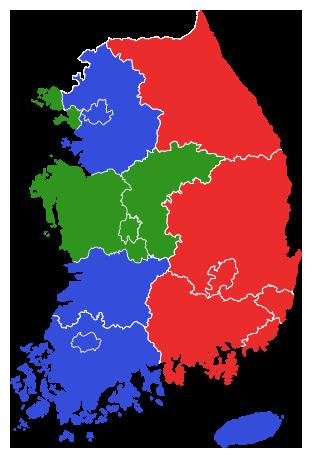 1998년 제2회 지방선거 김영삼 정부 지역별 투표율 지도
