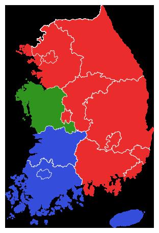 2002년 제3회 지방선거 김대중 정부 지역별 투표율 지도