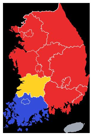 2006년 제4회 지방선거 노무현 정부 지역별 투표율 지도