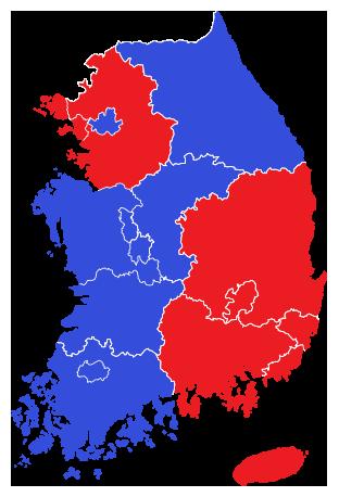 2014년 제6회 지방선거 박근혜 정부 지역별 투표율 지도