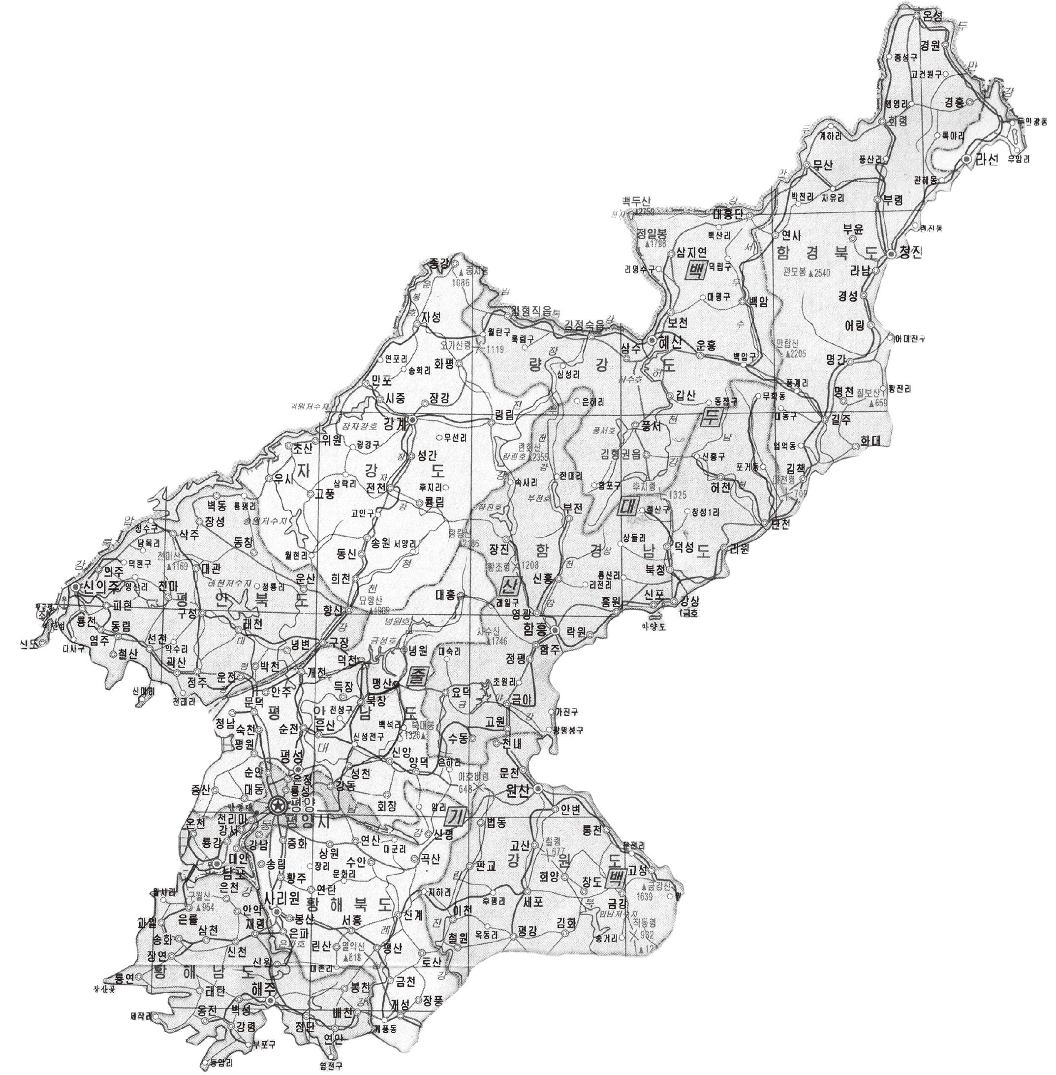 북한 행정단위 지도