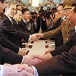 <아시안게임> 악수하는 남•북 고위대표단
