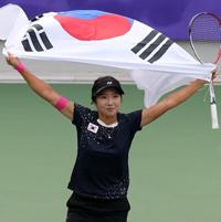 ソフトテニス女子シングルス 韓国の金宝美が金=ア大会