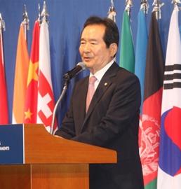 韩国国会议长出席欧亚议长欢迎晚宴