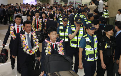 N. Korean taekwondo officials, athletes arrive in S. Korea for historic performances