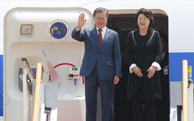 Moon returns from Russia visit