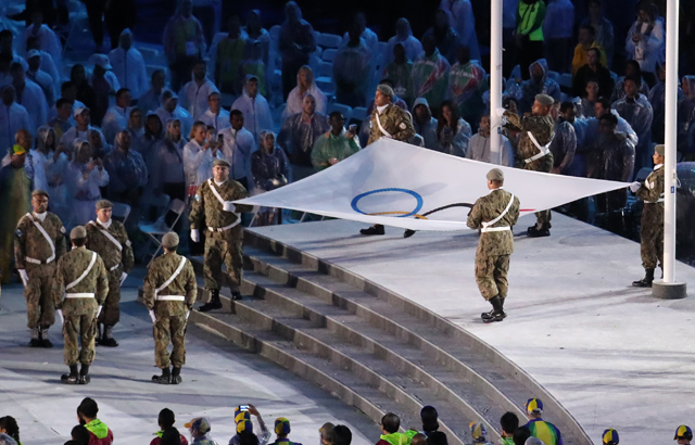 Olympic flag down