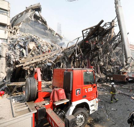 테헤란 17층 의류상가 화재로 붕괴