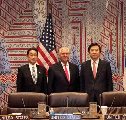 북한에 대한 압박 확인한 한미일 외교장관