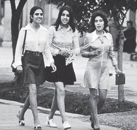 미니스커트 차림의 1972년 카불 여성들