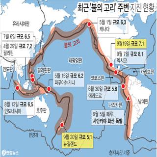 최근 '불의 고리' 주변 지진 현황