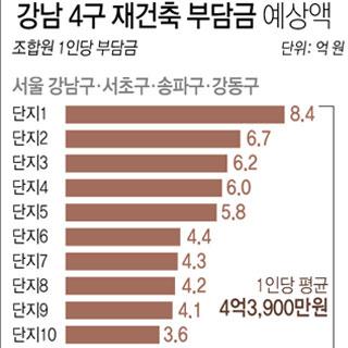강남 4구 재건축부담금 최고 8억4천만원 예상