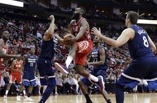 NBA 휴스턴, 미네소타 꺾고 서부 선두 수성…하든 31점