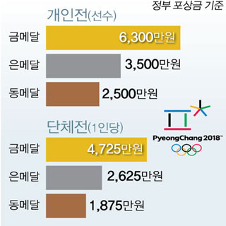 2018 평창 동계올림픽 우리 선수 메달별 포상금