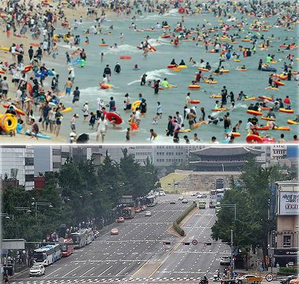 본격적인 휴가철 시작…해수욕장 북적·도심은 한산