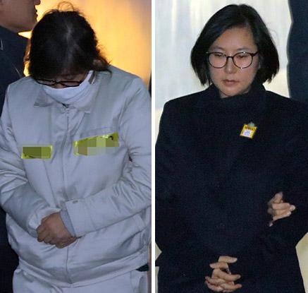 '등 돌린 혈연' 최순실·장시호 나란히 법정 출석