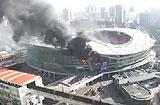 중국 첫 축구전용구장 훙커우스타디움서 대형 화재