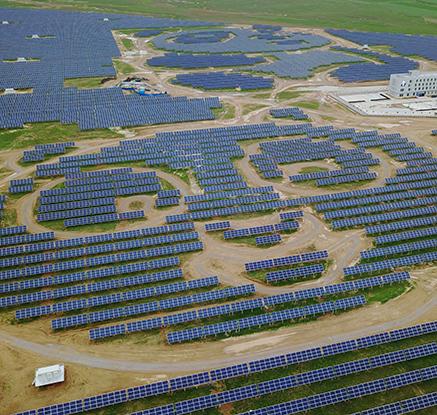 중국 산시성에 '판다 모양' 태양광 발전소 등장