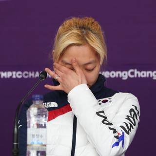 """[현장영상] 울음 터트린 김보름 """"진심으로 죄송"""""""