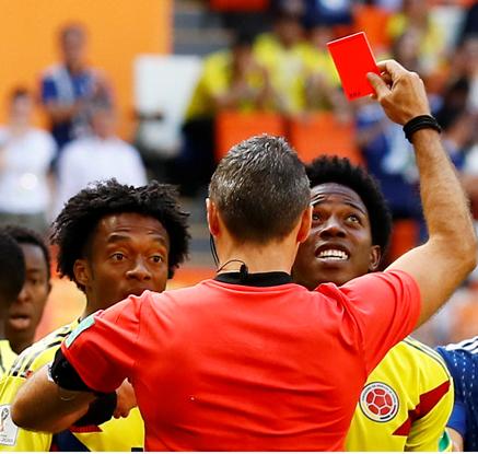[월드]콜롬비아 산체스, 대회 1호 퇴장…일본에 PK 허용