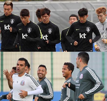 심기일전 훈련하는 신태용호 vs 여유 넘치는 멕시코 대표팀 훈련