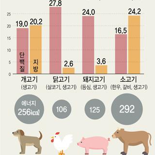 주요 육류별 영양성분 비교