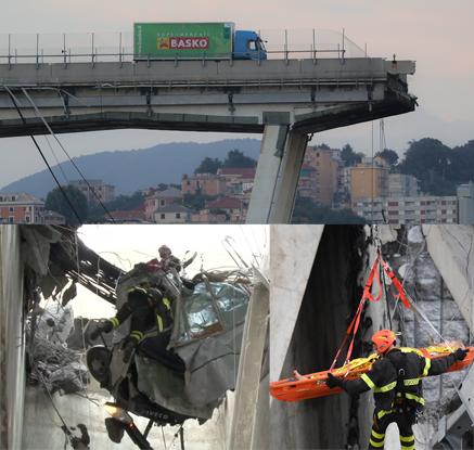 붕괴직전 멈춘 트럭·20m상공서 구조 등…伊 교량 붕괴 생존자들