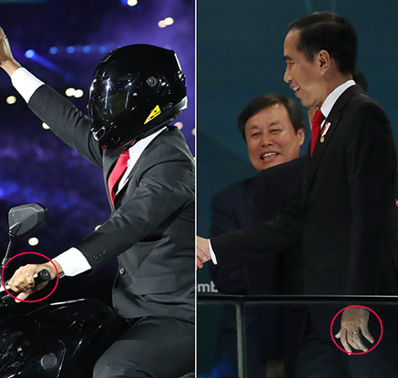 아시안게임 개막식 파격 ′오토바이 타는 대통령′ 퍼포먼스는 ′대역′?
