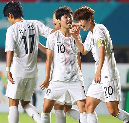 한국 여자축구, 인도네시아 12-0 대파…조1위로 8강행