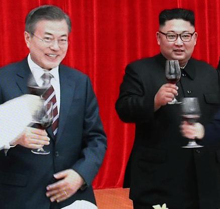 [평양정상회담]건배하는 남북 정상