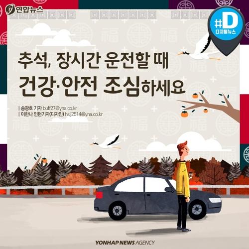 """[카드뉴스] """"추석연휴 안전 운전하세요""""…졸릴 때 쉬고 중간중간 스트레칭"""