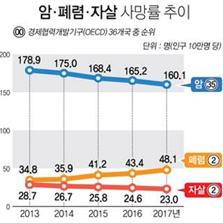 한국 암 사망률 OECD 36개국 중 35위