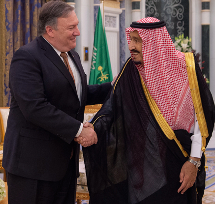 살만 사우디 국왕 만나는 폼페이오